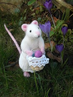 Needle Felted Little Easter Mouse With Miniature by MrsPlopsShoppe
