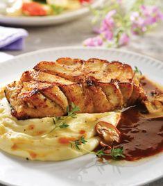 Filete de pescado horneado con champiñones