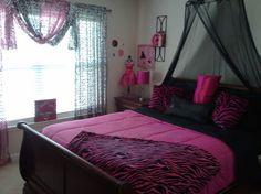 pink Cheetah Print Room Decor | Jezz's Funky Hot pink/Zebra print room, 13 year old funky wild room ...