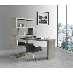 Brayden Studio Waxman L-Shape Credenza desk with Bookcase Color: Matte Grey Modern Office Desk, Home Office Desks, Office Furniture, Furniture Design, Office Decor, Contemporary Office, Luxury Furniture, Office Ideas, Bedroom Decor