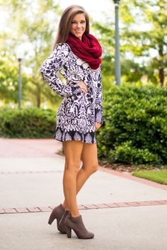 You'll look simply darling in damask when you slip into this luxuriously soft dress! With a snug fit and cozy material, rock this one on a fall day with some booties and a scarf!