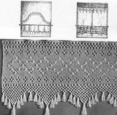 Curtain in the Finnish ancient knotting method called Fransu. In previous days made as edges for bed sheets as marriage gifts by wife-to-bees to her new home. Later also for beadspreads, curtains, table cloths etc. Material tightly twined linen thread