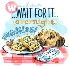 Overnight waffles! Recipe at www.oscaratemymuffin.com - Illustration by Natalya Zahn