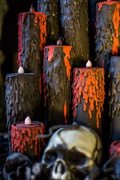 Blood Candles | DIY Halloween prop | Halloween bleeding candles | Upcycled cardboard tubes | How to make Halloween candles | Cheap & easy crafts | TheNavagePatch.com