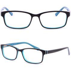 Black Acetate Plastic Mens Women Frame Prescription Glasses Spring Loaded Hinges #Unbranded