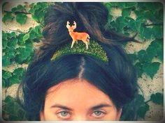 Indie Rock Tiara  Vintage Deer Figurine Headpiece on by HairSugar, $32.00