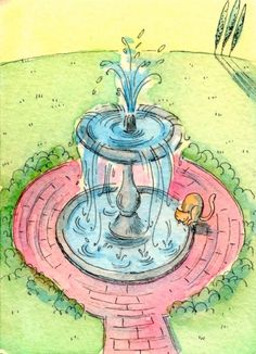 Sip from the Fountain, painting by artist Nicole Wong