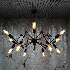 $75 Aged Black Retro 12-light Swing Armed Loft PendantCode:# HL371470