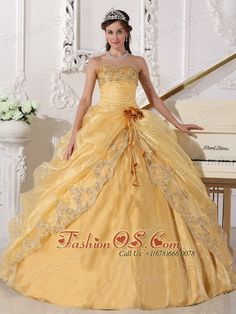 Popular Gold Quinceanera Dress Strapless Organza Embroidery with Beading Ball Gown- $186.59  http://www.fashionos.com  lassical body-hugging bodice accents the vintage style. Exquisite embroidery and beaded hemline make this dress special and stun audiences. A gorgeous party dress for the woman who wants to sparkle and delight at prom or special occasion party. This dazzling gold embroidery dress features a modified sweetheart strapless bust and glittering jeweled bust.