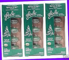 12 REFILLS Glade SPRUCE IT UP Balsam Fir Sandalwood Scented Oil Candle (3 PACKS)