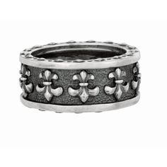 Ring Sterling Silver Black. Fleur-De- Lis Pattern
