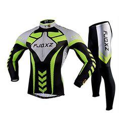 FJQXZ®+Φανέλα+με+κολάν+για+ποδηλασία+Ανδρικά+Μακρύ+Μανίκι+Ποδήλατο+Αναπνέει+/+Γρήγορο+Στέγνωμα+/+Υπεριώδης+Αντίσταση+/+3D+PadΖέρσεϊ+++–+EUR+€+35.27