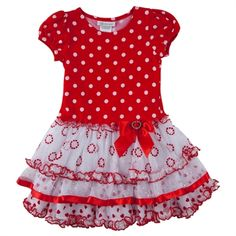 Bonnie Jean Girls 4-6x Tiered Dots and Hearts Dress