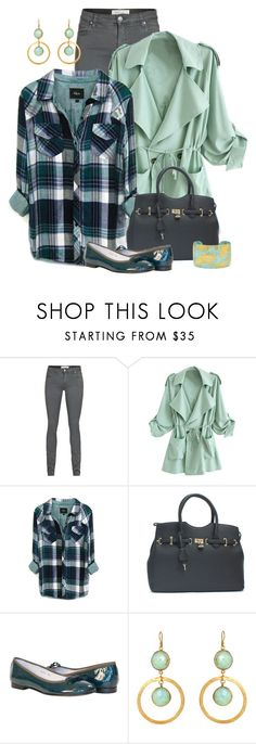 """""""Pleasantly Plaid"""" by jodilambdin ❤ liked on Polyvore featuring IRO, Rails, Feather & Stone, Évocateur, plaid, patentleather, cuff, cuffbracelet and tencel"""