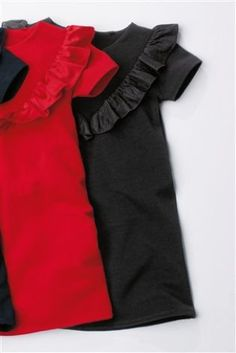 Time for some frillin' around this Halloween in either of these black and red frill dress! Ideal for winter wear and also for completing your little witch's outfit!