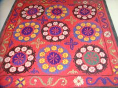 Vintage UZBEK SUZANI Handmade silk Embroidery on cotton fabric ag29 We are happy to represent you extremely bright, rich, multi-stylish art of Central Asian decorative embroidery - one of the outstanding arts of Central Asian region. This embroidery is to decorate different