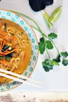 Thai Coconut Curry Soup (this soup could easily be done vegan, omit chicken and chicken stock, replace with veggie stock and more vegetables, like cauliflower and peas)