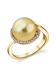14K Yellow Gold 10mm Golden South Sea Pearl & Diamond Ring - 0.33 ctw