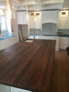 Custom Wood Island top made with American Black Walnut! Custom Countertops, Wood Countertops, Wood Islands, Hardwood Floors, Flooring, Wood Vanity, Wood Bars, Custom Wood, Wood Species