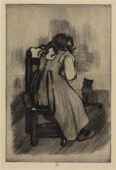Petite fille de dos et chat, 19e siècle - Théophile Alexandre Steinlen