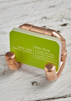 This funky Copper pipe business card holder if the perfect gift for those who love industrial style. This card stand will look super stylish displayed on your desk. Buy at Lime Lace.