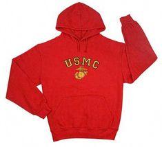 XL 2XL Marines USMC Zipper Applique Hooded Thermal Sweatshirt Hoodie Hoody