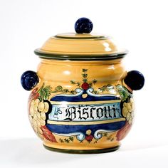 Intrada Italy Biscotti Jar Leaves Accent Cookie Canister Made in Italy