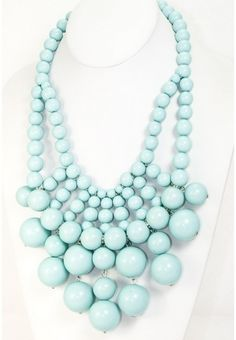 Chunky Baubbles Necklace - pastel turquoise color- 2 available @34 each