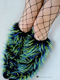 Rave Fluffies uv yellow blue & black other by BeatBoutique on Etsy    edc ideas!