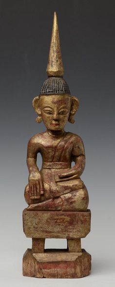 18th C., Burmese (Tai Lue) wooden seated Buddha