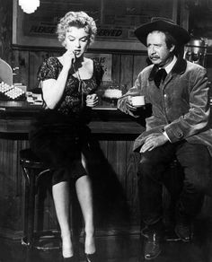 """Marilyn photographed with Arthur O'Connell on the set of """"Bus Stop"""" by Milton Greene 1955"""