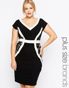 Buy Paper Dolls Plus Panelled Pencil Dress at ASOS. With free delivery and return options (Ts&Cs apply), online shopping has never been so easy. Get the latest trends with ASOS now. Plus Size Fashion Dresses, Plus Size Fashion For Women, Plus Size Dresses, Plus Size Outfits, Asos Fashion, Work Fashion, Curvy Fashion, Apple Shape Outfits, Apple Shape Fashion