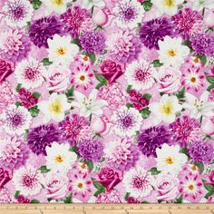 Shades of Violet Large Allover Floral Light Fuschia from @fabricdotcom  Designed by Herbie and licensed to Wilmington Prints, this cotton print fabric is perfect for quilting, apparel, and home decor accents. Colors include white, green, yellow, orange, shades of pink and shades of purple.