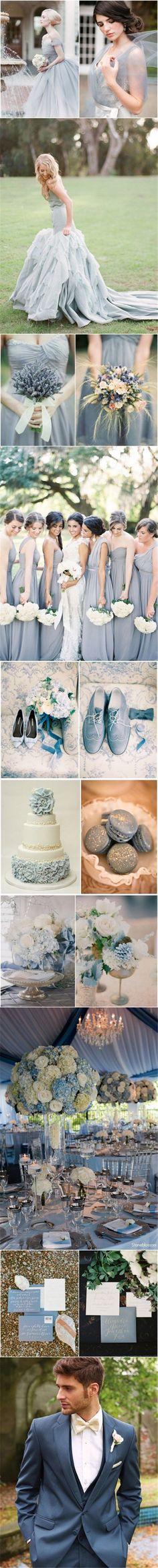 2015 wedding color ideas - dusty blue wedding color ideas for spring/ fall weddings