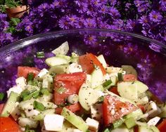 Tomato, Cucumber & Mozzarella Salad from Food.com: This is a marvelous salad that uses the same dressing as the marinade for Grilled Stuffed Chicken (Grilled Stuffed Chicken). Prepare these two together for a fantastic summer meal.