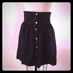 Zara button up high waisted skirt Zara button up high waisted skirt, black with gold buttons down center front. nautical! Zara Skirts Mini