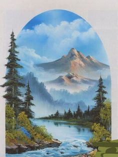 Bob Ross Artworks, Bob Ross Paintings, Happy Paintings, Beautiful Paintings, Bob Ross Landscape, Landscape Art, Landscape Paintings, Acrylic Paintings, Pinturas Bob Ross