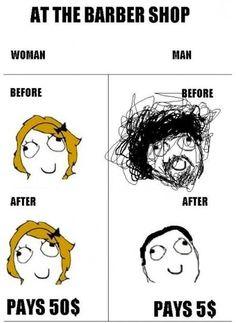Women vs. men at the barber shop :/