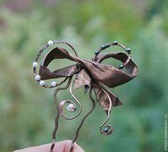 Шпилька для волос Бант из меди с жемчугом (заколка бантик медная) wire wrap, Elena Schelchkova 2014