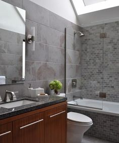 modern bathroom design with gray and white brick wall tiles