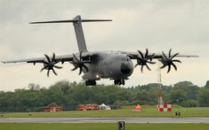 Download wallpapers Airbus A400M Atlas, military transport aircraft, turboprop aircraft, new airplanes, airport, Airbus Military