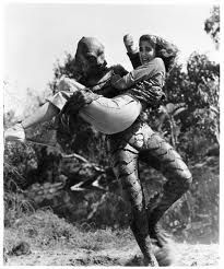 The Gill-man (Ben Chapman) & Kay Lawrence (Julie Adams) - Creature from the Black Lagoon Julie Adams, Classic Horror Movies, Classic Films, Tv Movie, Retro, Sci Fi Films, Tribute, Famous Monsters, Black Lagoon