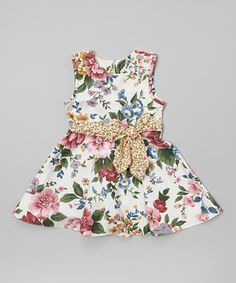 Love this Anna Bouché White Floral A-Line Dress - Toddler & Girls by Anna Bouché on #zulily! #zulilyfinds