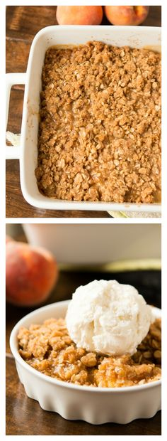 This is the best recipe we've found for peach crisp and it's perfect for Labor Day! ohsweetbasil.com