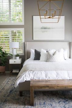bd256bcc5a8 like that paint color BECKI OWENS--Kailee Wright Master Bedroom Reveal. A  fresh bedroom update with Benjamin Moore Greystone