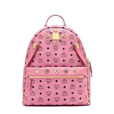 MCM Medium Dual Stark Backpack In Pink