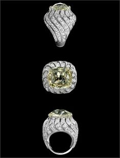 Cartier | Solar Landscape ring. A light yellow diamond, white diamonds and platinum