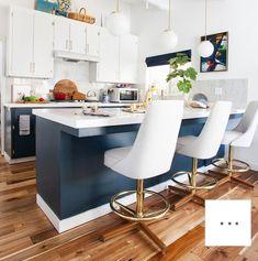 Kitchen Flooring Ideas - The final big kitchen makeover post Big Kitchen, Kitchen Dining, Kitchen Decor, Navy Kitchen, Brass Kitchen, Kitchen Cabinets, Kitchen Colors, Kitchen Ideas, Kitchen Paint