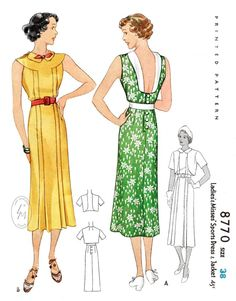 Vintage sewing pattern 1930s 30s dress pattern reproduction // | Etsy Vintage Outfits, Vintage Dresses, Vintage Clothing, Summer Outfits Women 30s, Summer Dresses, Trendy Outfits, 1930s Fashion, Vintage Fashion, Fashion Goth