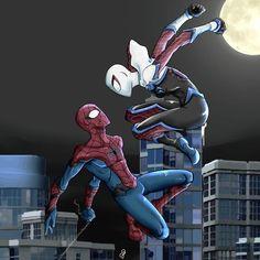 Spiderman And Spider Gwen, Spiderman Suits, Spiderman Art, Amazing Spiderman, Spiderman Sketches, Avengers Earth's Mightiest Heroes, Marvel Heroes, Marvel Characters, Marvel Avengers